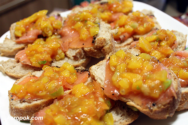 Sourdough Bread with Smoked Salmon and relish