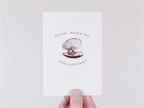 Pearl Wedding Anniversary Card   30 Year Wedding