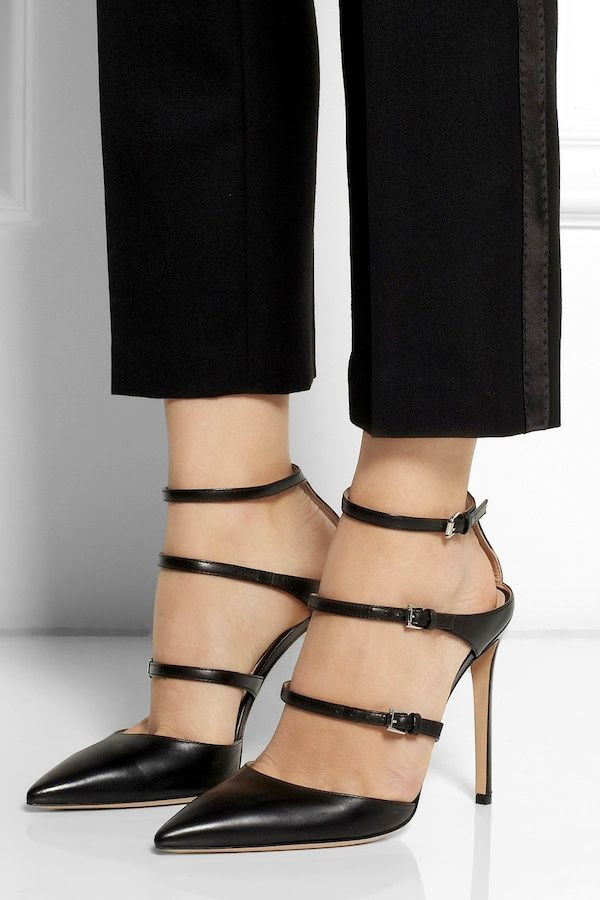 Le Fashion Blog Splurge Vs Save Gianvito Rossi Black Strappy Triple Buckled Pumps Tuxedo Pants Sexy Date Night Budget Friendly Shoes
