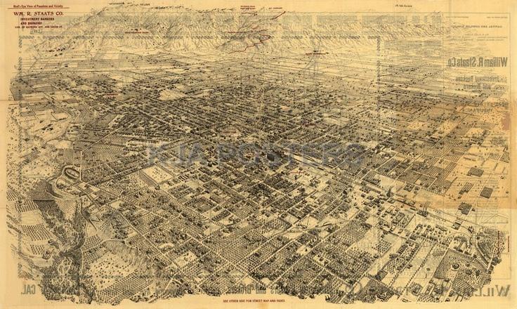Vintage Posters Pasadena Birds Eye View Map 1903