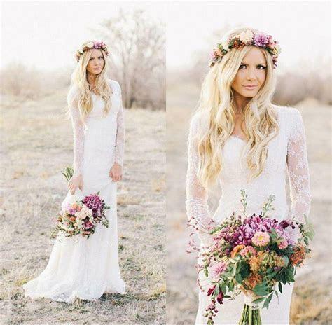 White Boho Lace Mermaid Summer Wedding Dresses Long Sleeve