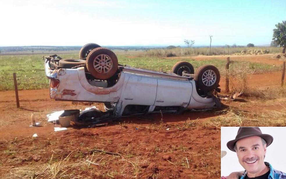 Humorista Tom Carvalho sofre acidente de carro em Santa Fé de Goiás (Foto: Reprodução/TV Anhanguera)