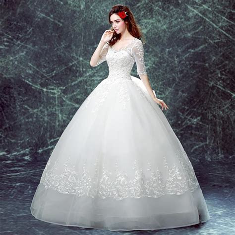 Plus size ball gown wedding dress embroidery sequined big