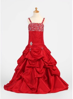 A-Line/Princess Floor-Length Taffeta Flower Girl Dress With Ruffle Beading