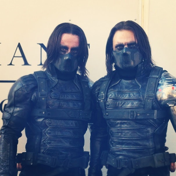 Sebastian Stan With His Stunt Double James Young On The Set Of Captain America: The Winter Soldier