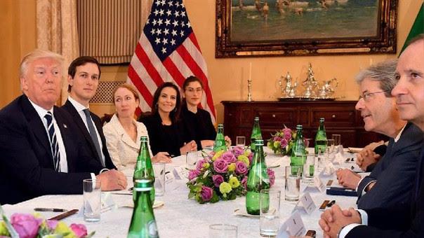 Donald Trump y asesor Jared Kushner se reúnen con el primer ministro italiano, Peolo Gentiloni.