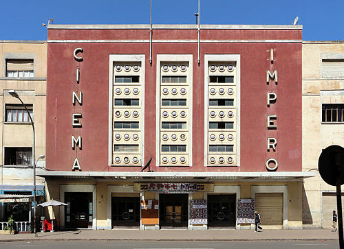 The Cinema Impero was constructed in Asmara in 1937. It is a famous example of the Art Deco style