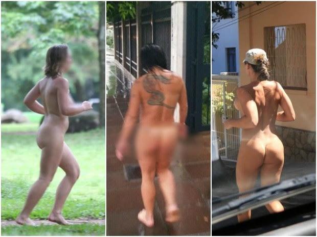 Montagem mulheres correm nuas por Porto Alegre (Foto: Montagem sobre fotos/G1)