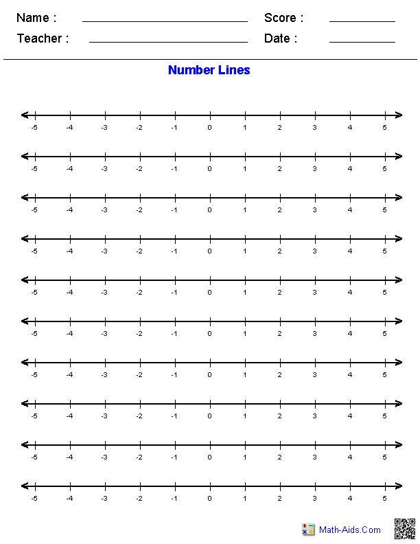 Number Line Worksheets Dynamic Number Line Worksheets