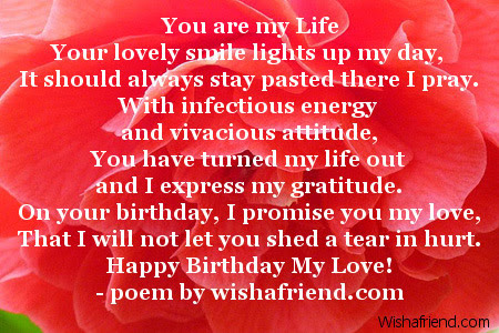 You Are My Life Girlfriend Birthday Poem