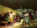 Goya. Los fusilamientos del 3 de Mayo. Representa la represión de las tropas francesas sobre los sublevados de Madrid. Ampliar imagen