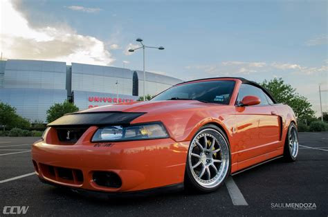 orange ford mustang cobra ccw  forged wheels ccw