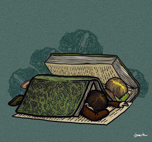 Lectores descansando (ilustración de Berk Öztürk)