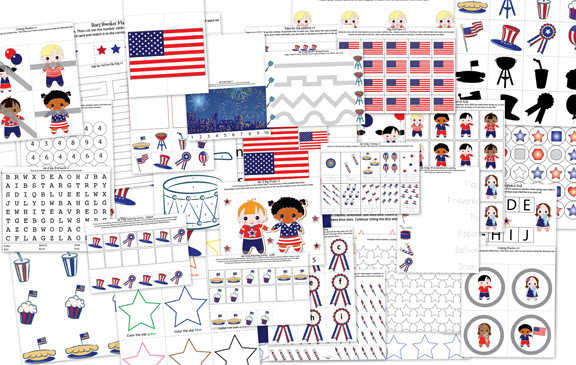 4th of July Printable Pack >> Gift of Curiosity