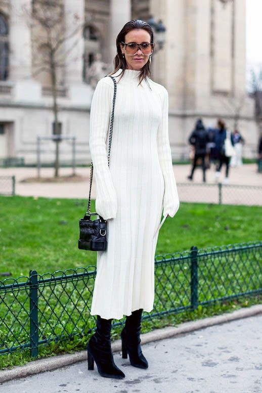 Le Fashion Blog Winter Whites Sunglasses White Midi Sweater Dress Black Crossbody Bag Black Boots Amanda Oracle Fox Via Harpers Bazaar