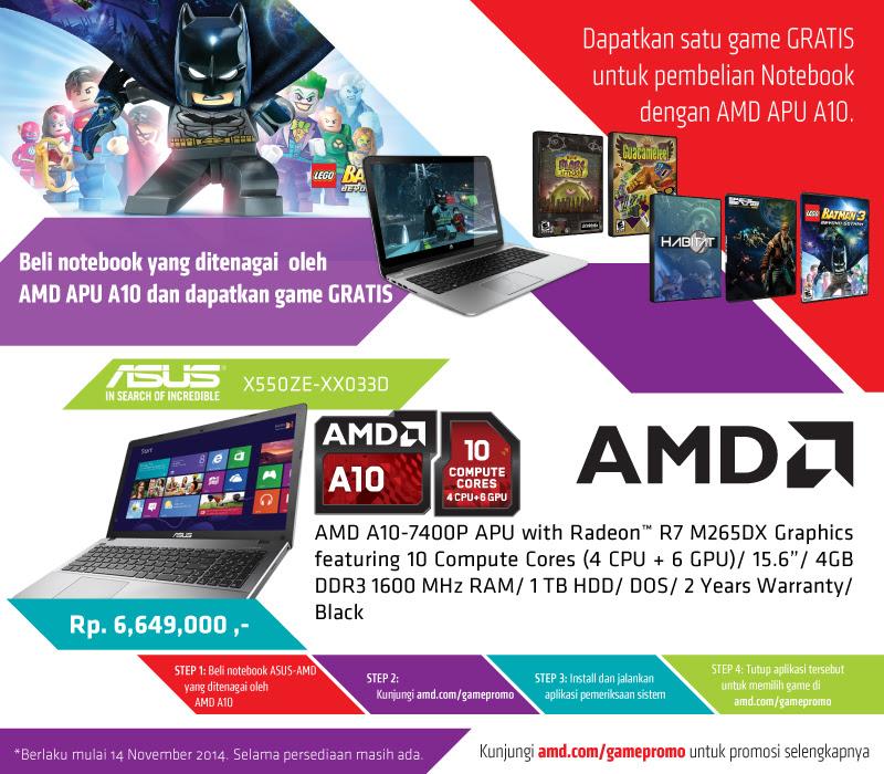 Promo ASUS X550ZE dengan AMD APU A10