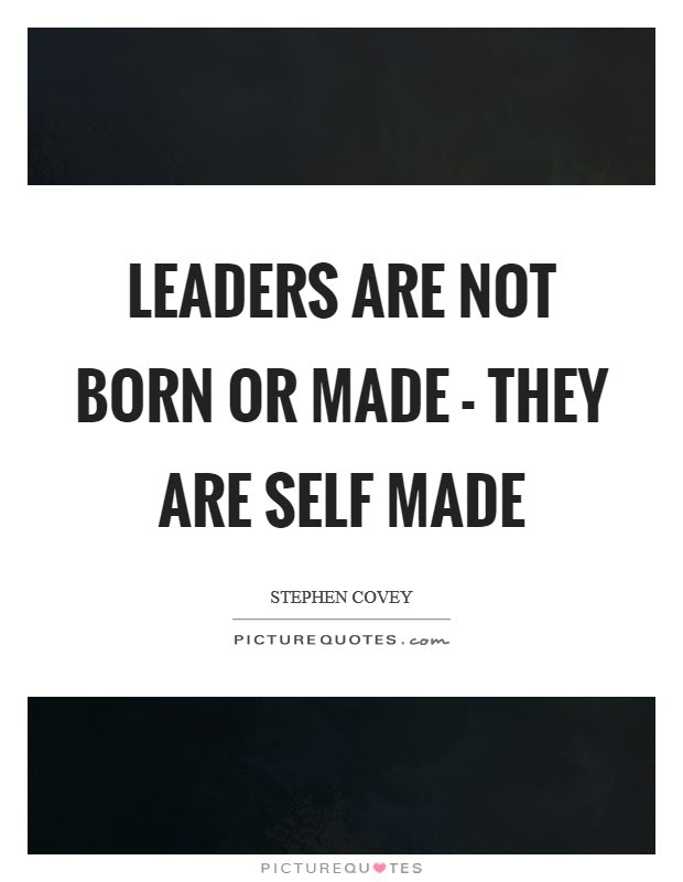 Leaders Are Not Born Or Made They Are Self Made Picture Quotes