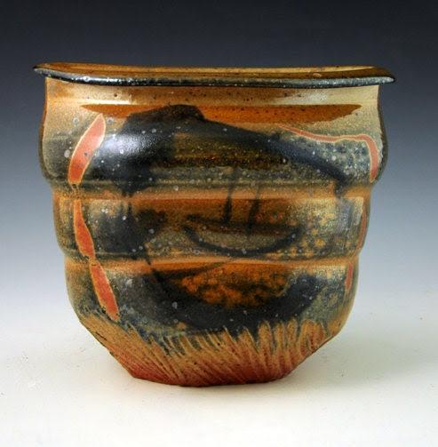 Stoneware Vase with Shino and brushwork