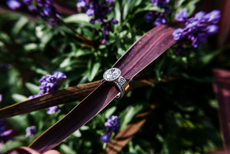 Details of rings and shoes following a small backyard wedding ceremony in Rockford IL. Photo by Mindy Joy Photography
