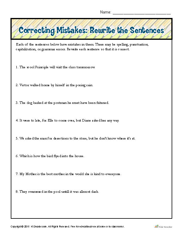 Correcting Mistakes: Rewrite the Sentences  Proofing and Editing Worksheets