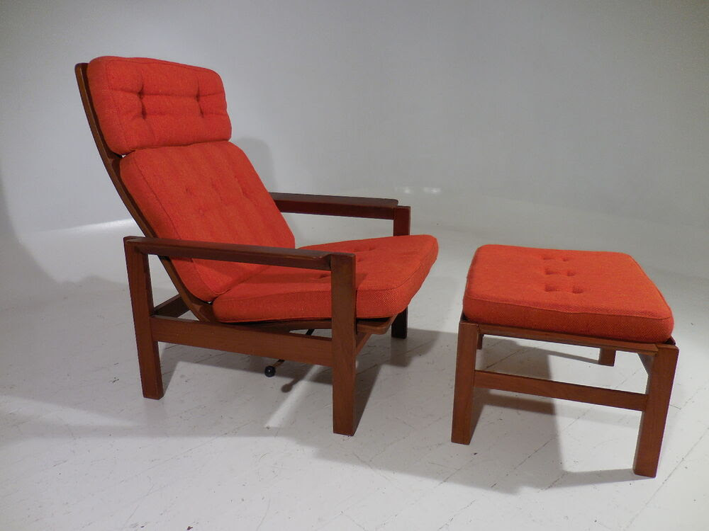 Mid Century Danish Modern Teak Reclining Lounge Chair w ...