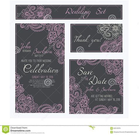 Set Of Wedding, Invitation Or Anniversary Cards With