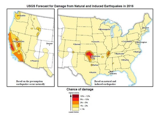 A USGS map shows which areas might experience damage