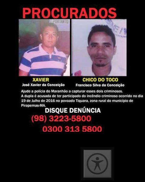 Ajude a polícia a capturar os bandidos que atearam fogo numa residência em Pirapemas.