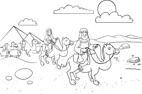 abraham and sarah traveling to egypt coloring page