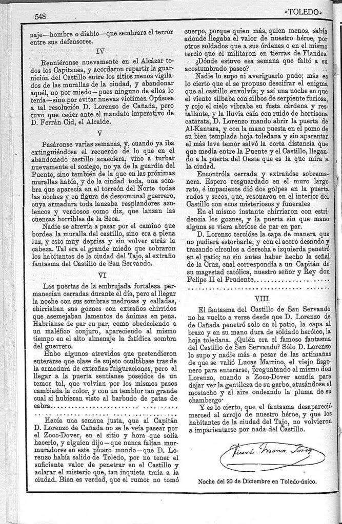 Artículo sobre el fantasma del Castillo de San Servando. Revista Toledo, enero de 1923. Página 3