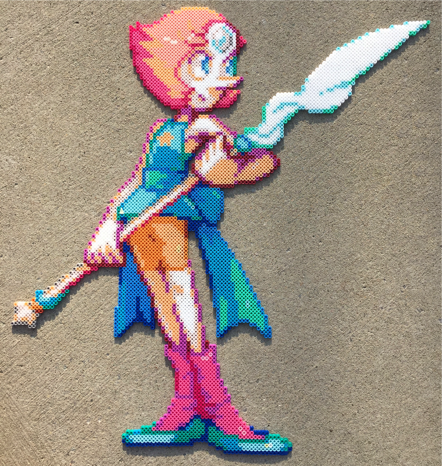 Hey look, I did something! I tried out mixing Nabbi beads and Perler beads, and I'm really happy with it! They iron differently, so the ironed side looks off, but otherwise it turned out great. Pea...