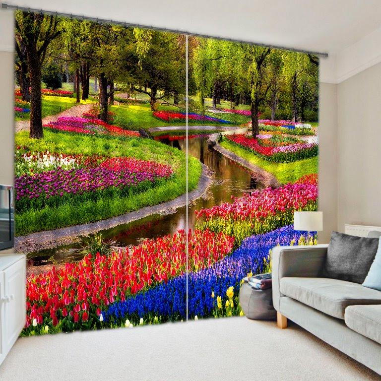 Colorful Flowers Print 3D Blackout Curtain