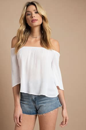 cute white blouse  shoulder blouse white blouse