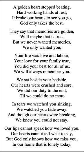 Memorial Card Quotes For Funerals   poetry   Funeral
