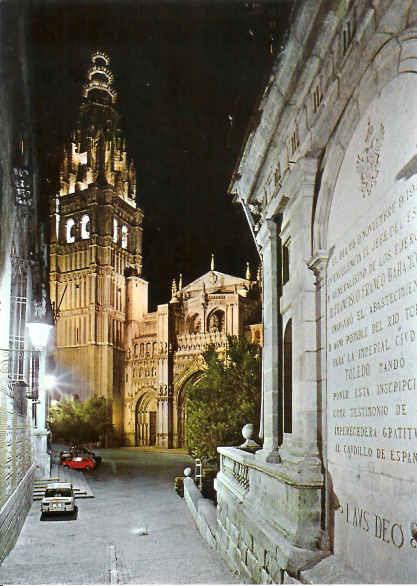 Placa conmemorativa de la traída de aguas del Torcón a Toledo fotografiada en los años 70.
