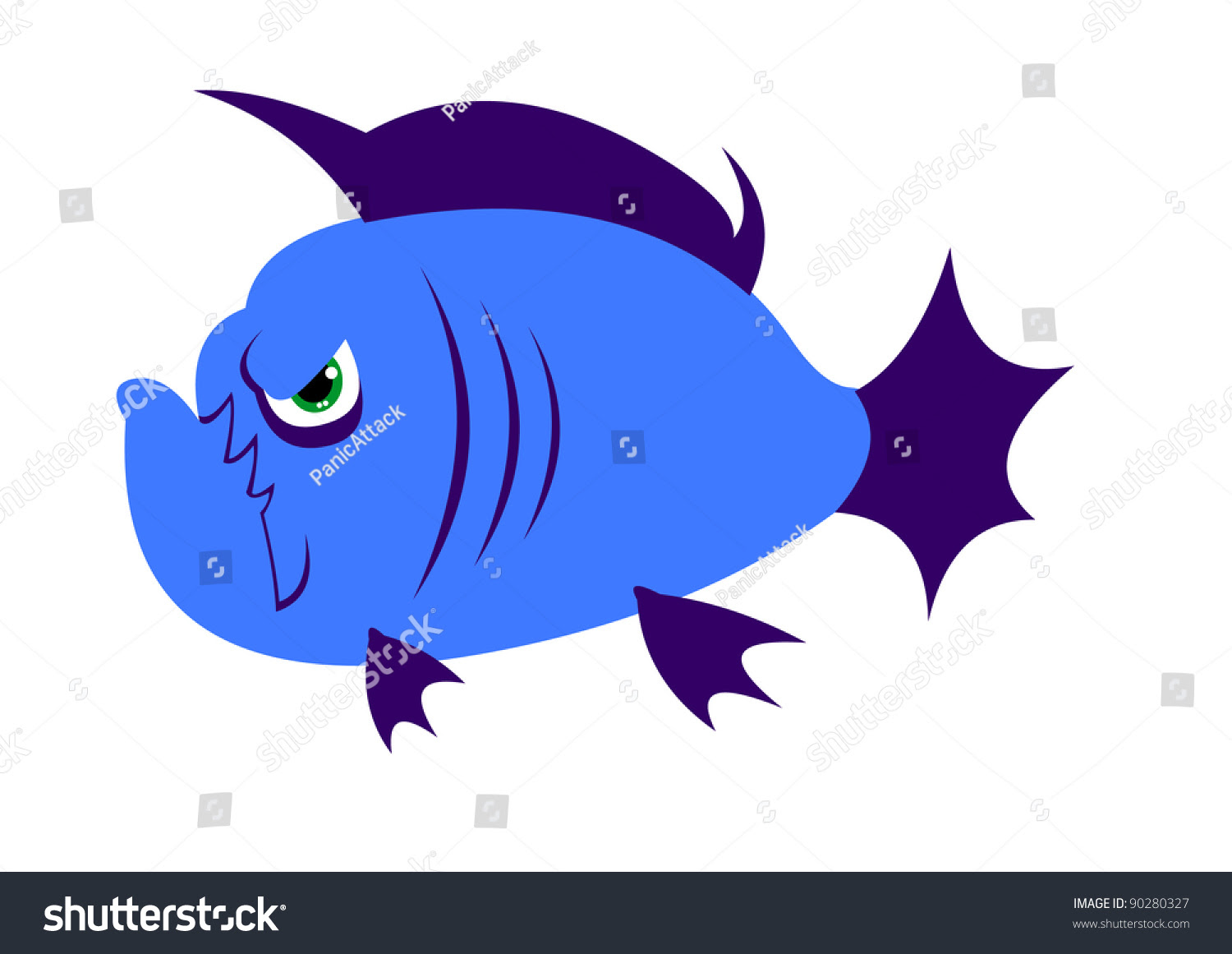 Cute Simple Cartoon Angry Piranha Fish. Only Flat Colors Isolated ...