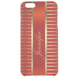 Personalize Red & Gold Metallic Stripes Uncommon Clearly™ Deflector iPhone 6 Plus Case