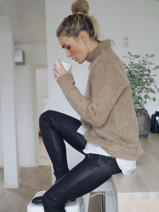 Le Fashion Blog Messy Bun Tan Mohair Funnel Neck Sweater Striped Button Down Layer Coated Jeans Flat Ankle Boots Blogger Style Via Camilla Pihl