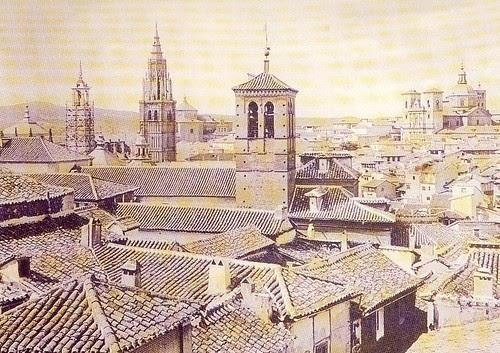 Vista General de la desaparecida Torre del Reloj de la Catedral hacia 1880