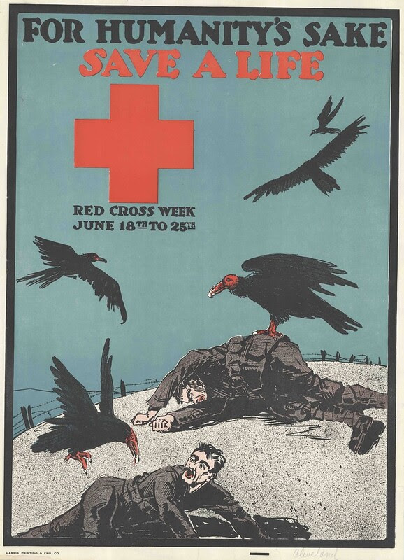 red cross war effor poster with dead or dying soldiers being pecked at by vultures