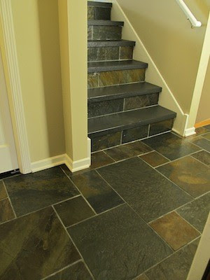 Slate tile entryway and stairs - Creative Tile Works