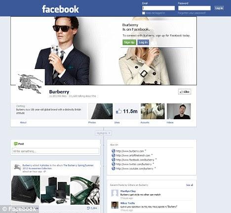Poder da marca: Burberry página do Facebook tem atraído, em fevereiro, mais do dobro do tráfego a que viu em janeiro