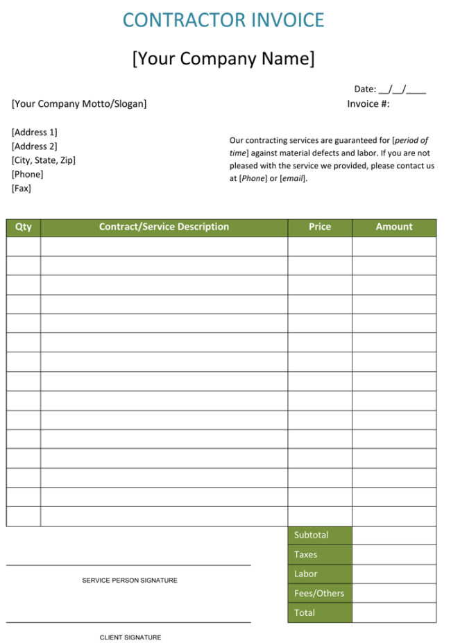 Construction Invoice Form 650x927