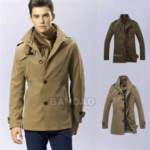 mens dust coat trench wind jacket casual slim fashion