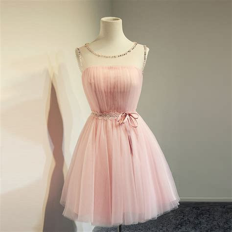 Top Selling Cheap Blush Pink Short Beading Prom Dresses,A