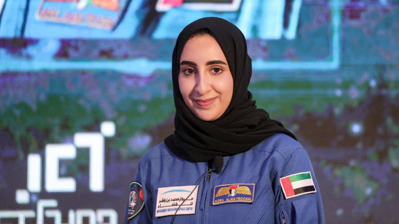 UAE astronaut Nora al-Matrooshi looks on during a press conference in Dubai on July 7, 2021. Image credit: GIUSEPPE CACACE / AFP