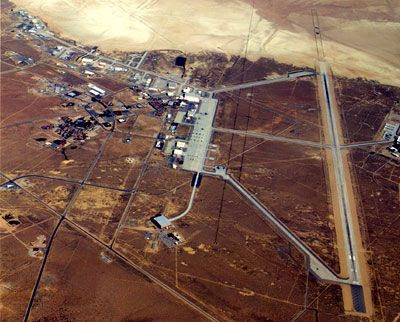 An aerial view of the REAL Edwards Air Force Base in California.