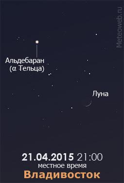 Растущая Луна на вечернем небе Владивостока 21 апреля 2015 года
