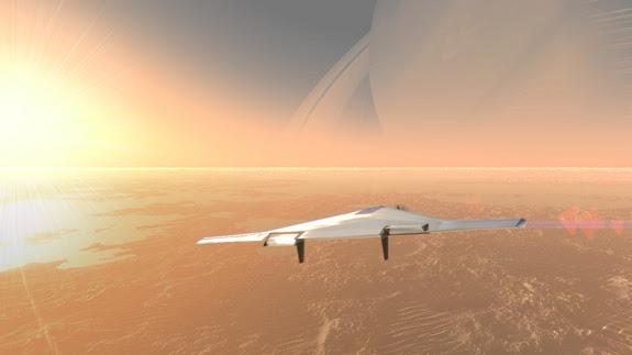 Καλλιτεχνική άποψη της πτήσης του αερόπλοιου VAMP στον ουρανό του δορυφόρου του Κρόνου Τιτάνα