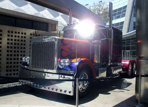 The Peterbilt truck that represents Optimus Prime in TRANSFORMERS: DARK OF THE MOON.
